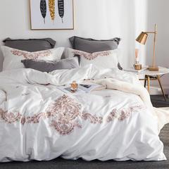 2018新款-60s长绒棉刺绣四件套 标准1.5m/1.8m床 戴安娜一白