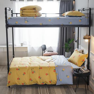 2019新款全棉单人床三件套 适用床-0.9-1.2m 小鲜橙