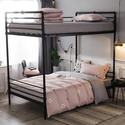 2019新款全棉单人床三件套 适用床-0.9-1.2m 幸福朵朵粉
