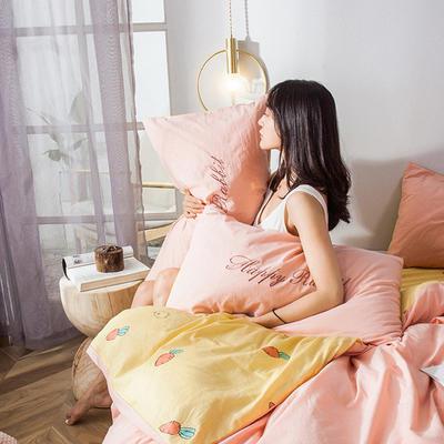 2019新款-水洗棉小刺繡單枕套 48cmX74cm(單只) 兔福莊