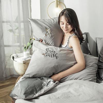 2019新款-水洗棉小刺繡單枕套 48cmX74cm(單只) 心靈