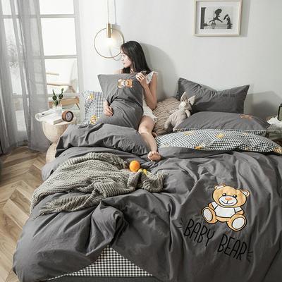 2019新款-水洗棉小刺繡四件套第三季 1.2m(4英尺)床(床單款) 寶寶熊