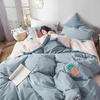 2019新款-水洗棉小刺繡四件套第三季 1.2m(4英尺)床(床單款) 菠蘿(蘭)