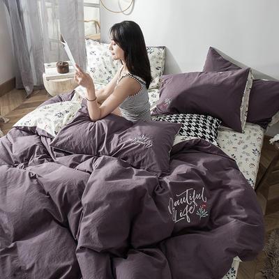 2019新款-水洗棉小刺繡四件套第三季 1.2m(4英尺)床(床單款) 芳菲