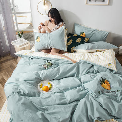 2019新款-水洗棉小刺繡四件套第三季 1.2m(4英尺)床(床單款) 黃草莓