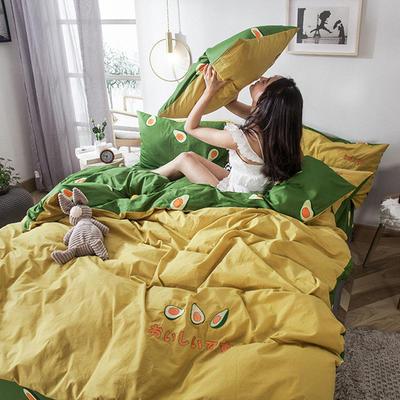 2019新款-水洗棉小刺绣四件套第三季 1.2m(4英尺)床(床单款) 牛油果