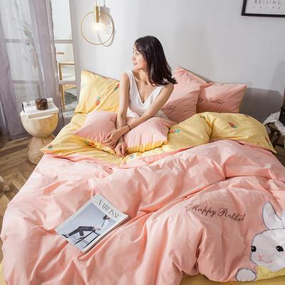 2019新款-水洗棉小刺绣四件套第三季 1.2m(4英尺)床(床单款) 兔福庄