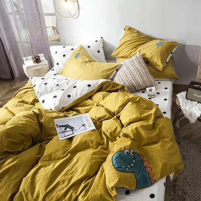 2019新款-水洗棉小刺繡四件套第三季 1.2m(4英尺)床(床單款) 小恐龍