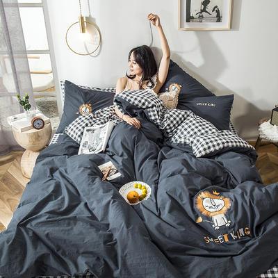 2019新款-水洗棉小刺绣四件套第三季 1.2m(4英尺)床(床单款) 小狮子