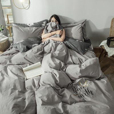 2019新款-水洗棉小刺绣四件套第三季 1.2m(4英尺)床(床单款) 心灵