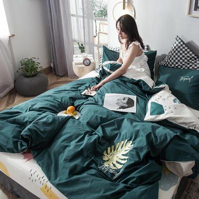 2019新款-水洗棉小刺绣四件套第三季 1.2m(4英尺)床(床单款) 叶知秋