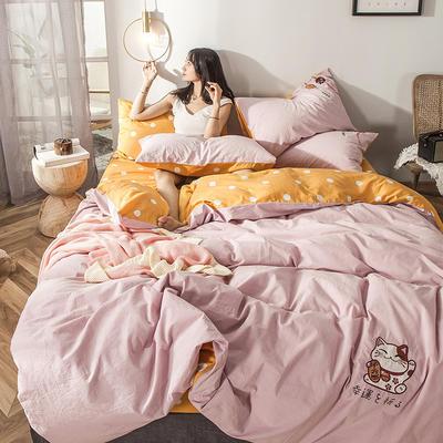 2019新款-水洗棉小刺绣四件套第三季 1.2m(4英尺)床(床单款) 招财猫