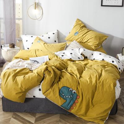 2019新款-水洗棉小刺绣四件套第三季 1.2m(4英尺)床(床单款) 小恐龙