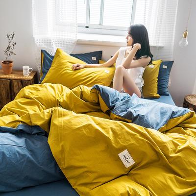 2019新款加厚水洗棉四件套第二批 1.2m床单款三件套 芥末黄+么么熊蓝