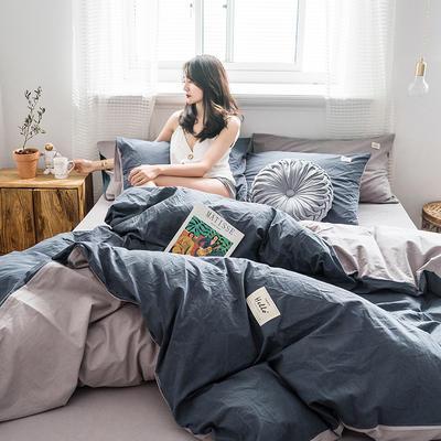 2019新款加厚水洗棉四件套第二批 1.2m床单款三件套 密码蓝+浅灰