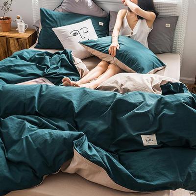 2019新款加厚水洗棉四件套第二批 1.2m床单款三件套 青子墨+卡其