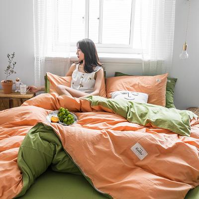 2019新款加厚水洗棉四件套第二批 1.2m床单款三件套 杏色+牛油果