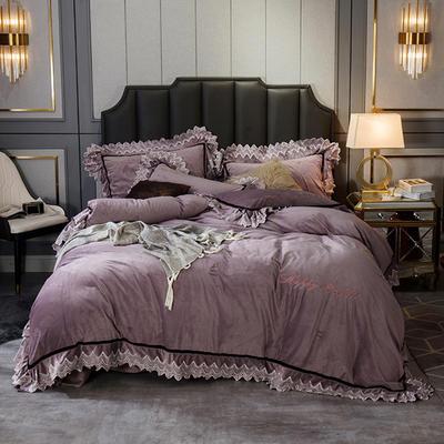 2019新款水晶绒花边刺绣款四件套 1.8m床单款四件套 花边款灰紫