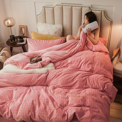 2019新款牛奶绒千鸟格YB亚博在线娱乐 1.8m床单款YB亚博在线娱乐 千鸟格粉