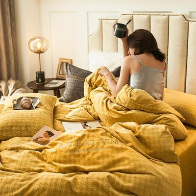 2019新款牛奶绒千鸟格YB亚博在线娱乐 1.8m床单款YB亚博在线娱乐 千鸟格芥末黄