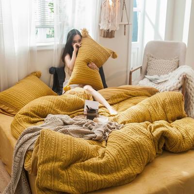 2019新款针织毛绒系列四件套 1.8m床单款四件套 针织毛线黄