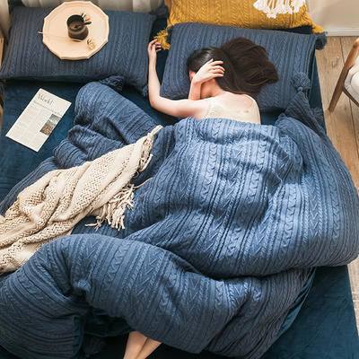 2019新款针织毛绒系列四件套 1.8m床单款四件套 针织毛线深蓝