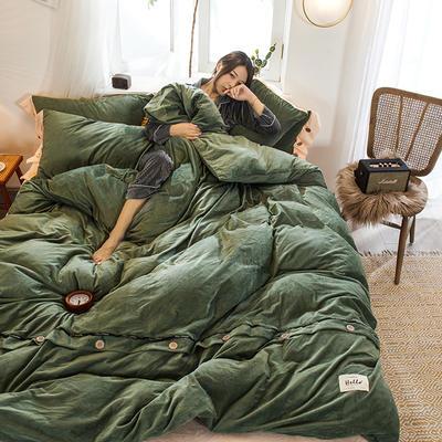 2019新款水晶绒纽扣款系列四件套 1.2m床单款三件套 草绿+米黄