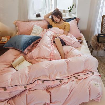 2019新款水晶绒纽扣款系列四件套 1.2m床单款三件套 粉色+米黄