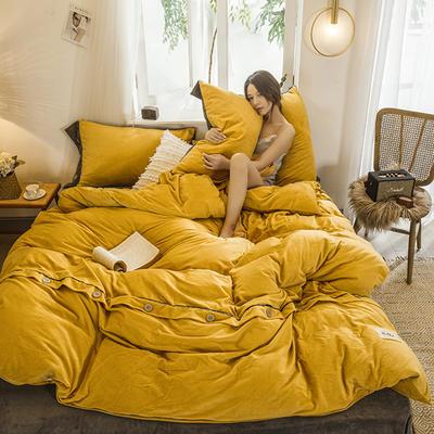 2019新款水晶绒纽扣款系列四件套 1.2m床单款三件套 芥末黄+中灰