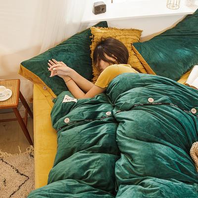 2019新款水晶绒纽扣款系列四件套 1.2m床单款三件套 深绿+芥末黄