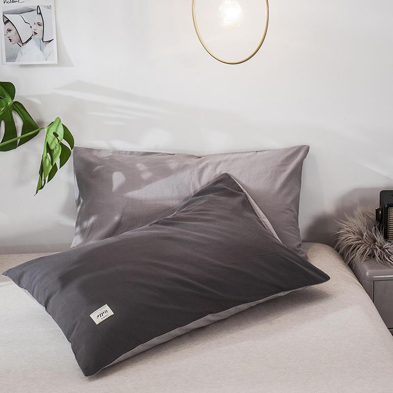 2020新款全棉纯色贴布绣枕套