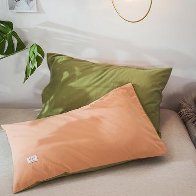 2020新款全棉纯色贴布绣枕套 48cmX74cm一对 杏色+牛油果 (3)