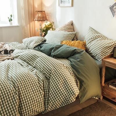 2020新款加厚水洗棉四件套 1.2m床单款三件套 绿小格+浅绿