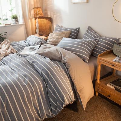 2020新款加厚水洗棉四件套 1.2m床单款三件套 浅蓝条纹
