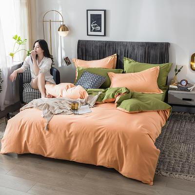 2020新款全棉纯色双拼系列四件套 1.2m床单款三件套 杏色+抹茶