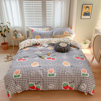 2020新款13070純棉印花四件套第二批 1.2m床單款三件套 草莓花園-灰