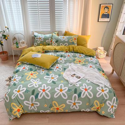 2020新款13070純棉印花四件套第二批 1.2m床單款三件套 晨雨花香-綠