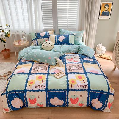 2020新款13070純棉印花四件套第二批 1.2m床單款三件套 甜心女孩