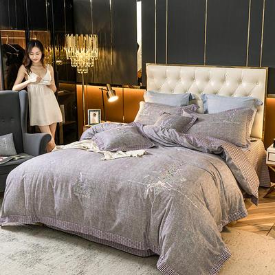2020新款全棉磨毛肌理刺绣四件套 1.5m床单款四件套 薰衣草紫灰