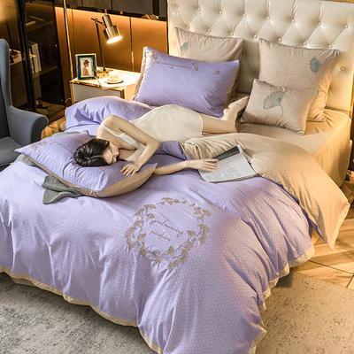 2020新款全棉磨毛肌理刺绣四件套 1.5m床单款四件套 银杏叶优雅紫