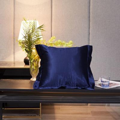2020新款精品水洗真丝四件套—单品抱枕套 抱枕45x45cm/对 藏青色