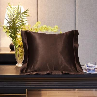 2020新款精品水洗真丝四件套—单品抱枕套 抱枕45x45cm/对 深咖啡