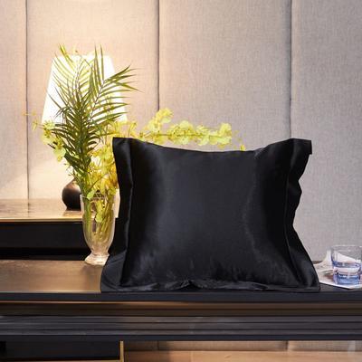 2020新款精品水洗真丝四件套—单品抱枕套 抱枕45x45cm/对 至尊黑