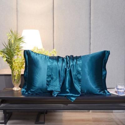 2020新款精品水洗真丝四件套—单品普通枕套 枕套48x74cm/对 巴黎蓝