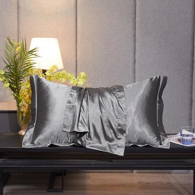 2020新款精品水洗真丝四件套—单品普通枕套 枕套48x74cm/对 爵士灰