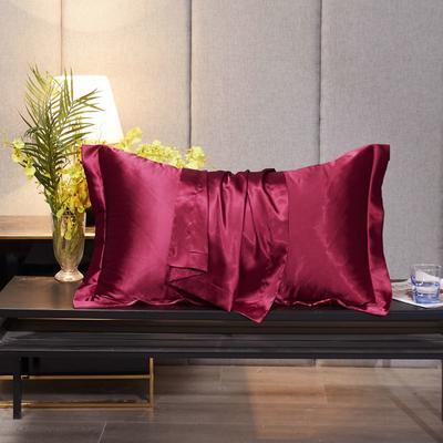 2020新款精品水洗真丝四件套—单品普通枕套 枕套48x74cm/对 玛瑙红