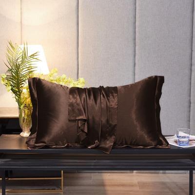 2020新款精品水洗真丝四件套—单品普通枕套 枕套48x74cm/对 深咖啡