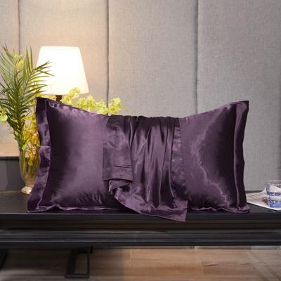 2020新款精品水洗真丝四件套—单品普通枕套 枕套48x74cm/对 水晶紫