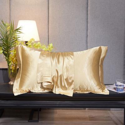 2020新款精品水洗真丝四件套—单品普通枕套 枕套48x74cm/对 驼色