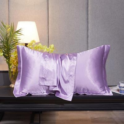 2020新款精品水洗真丝四件套—单品普通枕套 枕套48x74cm/对 香芋紫